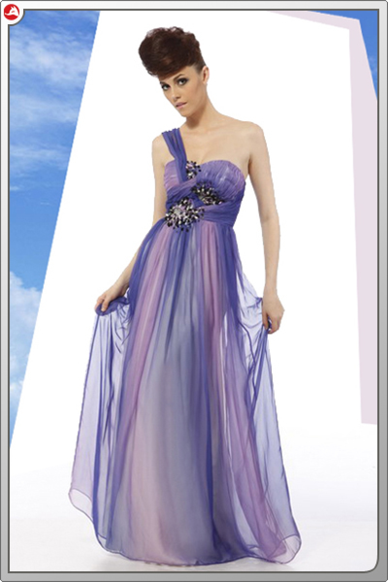Designer Empire Abendkleid mit Pailletten flieder