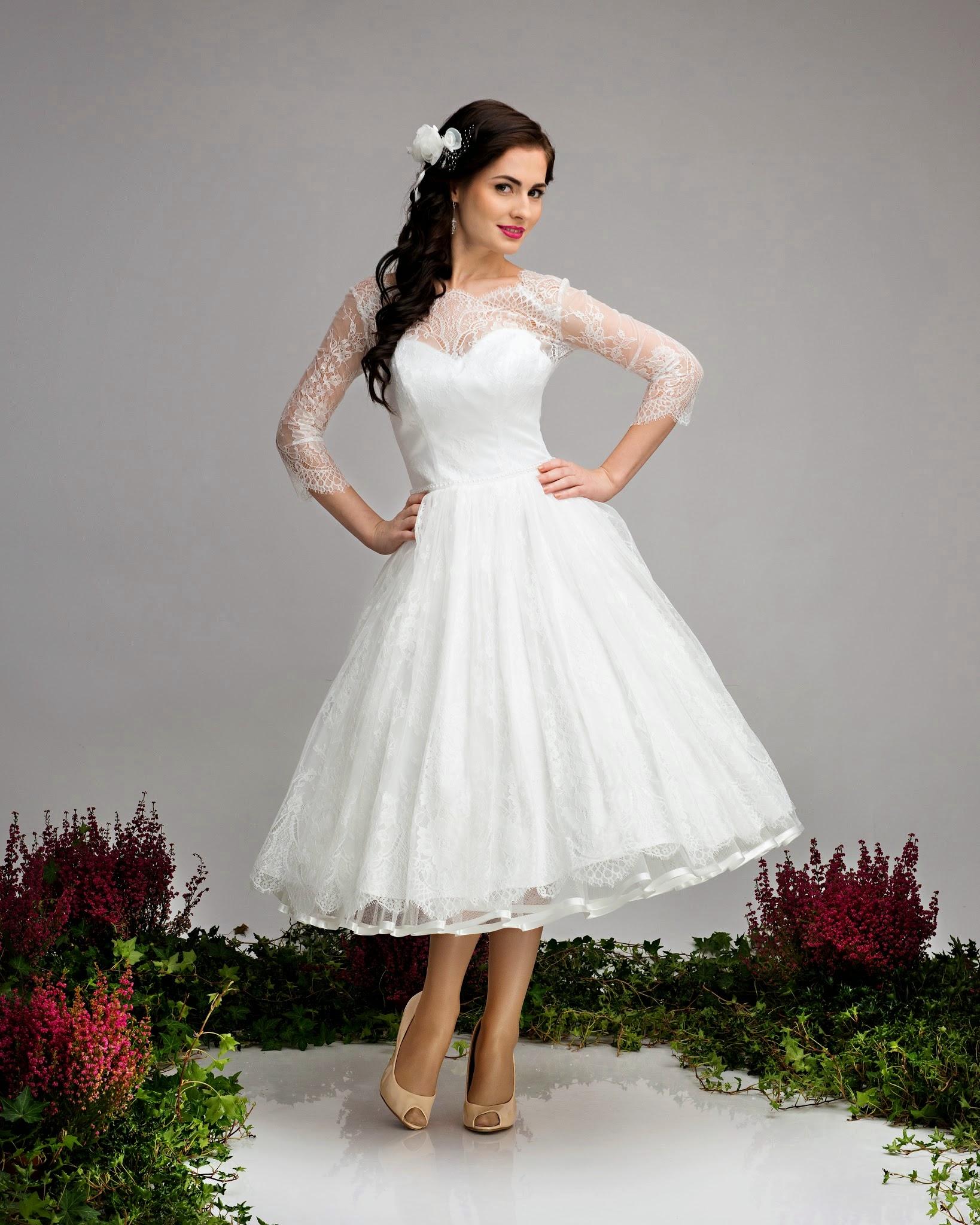Kurzes Spitzen-Brautkleid Hochzeitskleid Cindy 16-er Stil